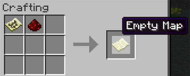 Recipe: Filled Map and Redstone Dust